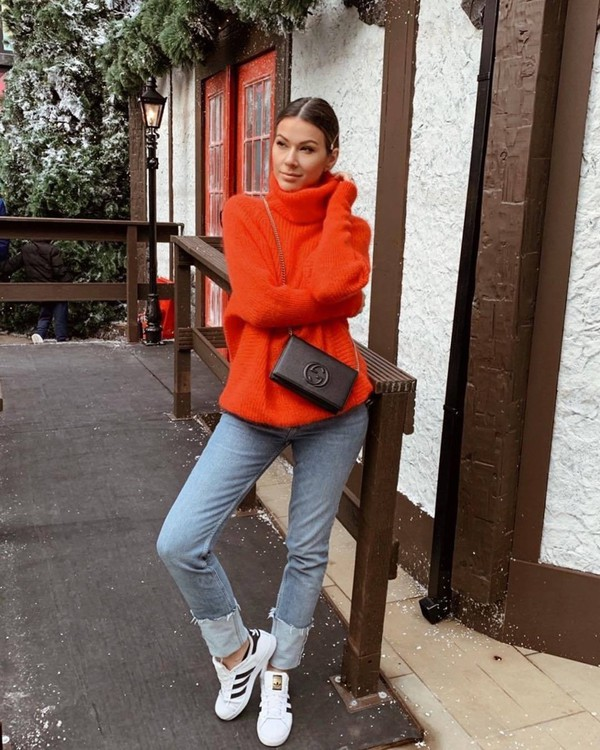 sweater turtleneck sweater red sweater hugo boss mohair adidas sneakers jeans gucci bag black bag