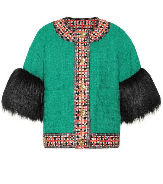 Gucci Wool-blend tweed jacket in green