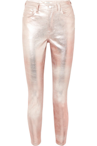 GRLFRND - Karolina Metallic Coated High-rise Slim-leg Jeans - Silver