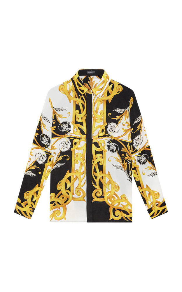 Versace Printed Silk Cabana Shirt in print
