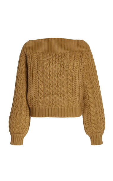 Proenza Schouler White Label Cable-Knit Wool Sweater in brown