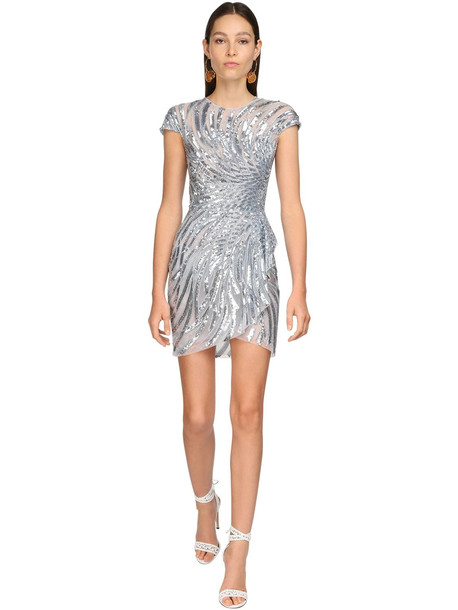 ZUHAIR MURAD Embellished Tulle Mini Dress in blue