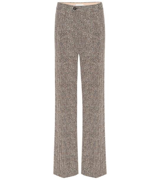 Chloé High-rise wide-leg herringbone pants in brown