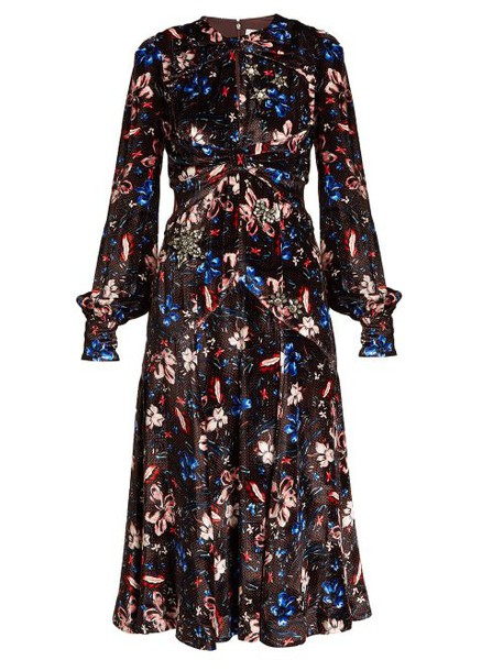Erdem - Carwen Tulip Meadow Print Velvet Dress - Womens - Burgundy Multi
