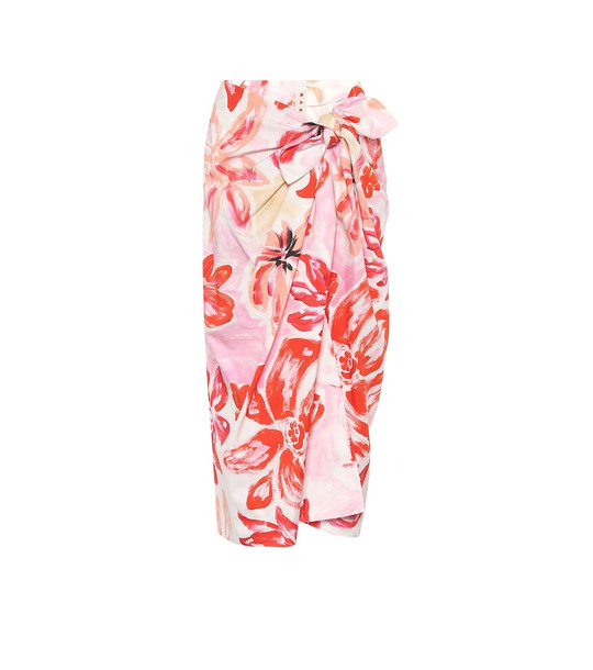 Marni Floral cotton-blend midi wrap skirt in pink