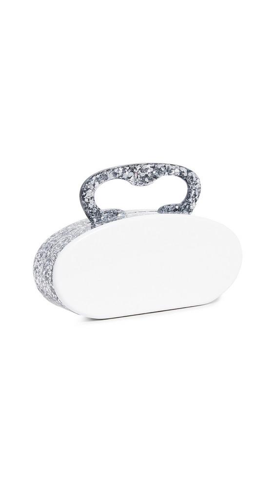 Edie Parker Deco Ribbon Clutch in silver / white