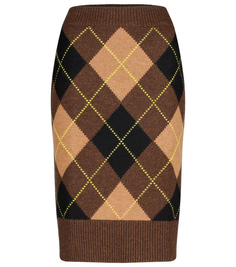 Burberry Argyle wool and cashmere midi skirt in brown