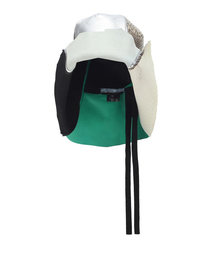 Prada Leather, suede and python hat
