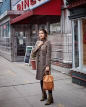 bag,brown bag,leather bag,backpack,ankle boots,heel boots,tights,plaid coat