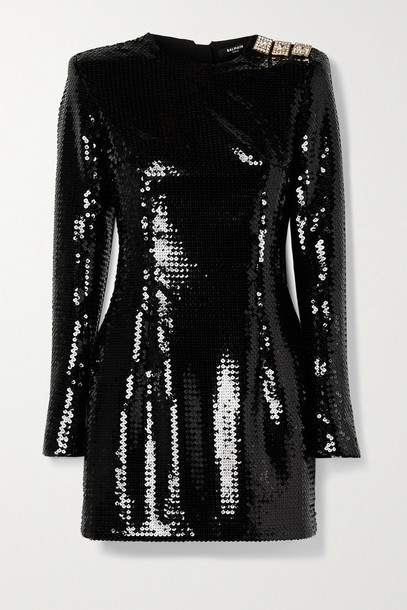 BALMAIN - Crystal-embellished Sequined Crepe Mini Dress - Black