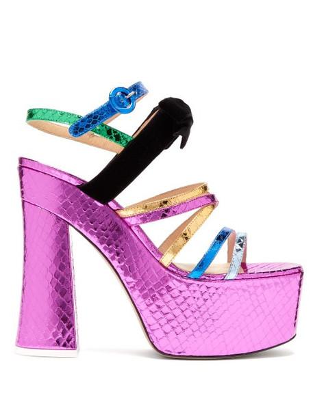 The Attico - Bibbi Snakeskin Effect Leather Platform Sandals - Womens - Multi