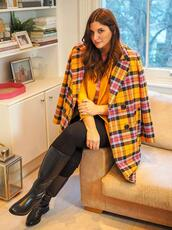 fashion foie gras,blogger,jeans,sweater,coat,plaid coat,yellow coat