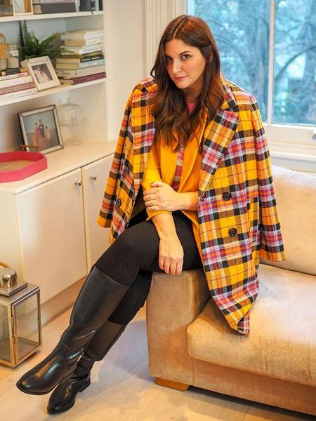 fashion foie gras blogger jeans sweater coat plaid coat yellow coat