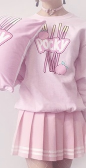 sweater,pink,anime,kawaii,pastel,food,girl,aesthetic,tumblr,pink top,baby pink,white,cute,pink sweater