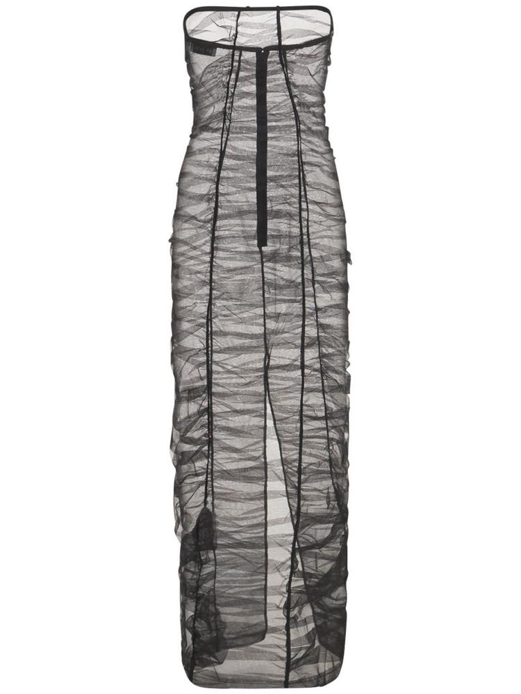 MÔNOT Sheer Nylon Tulle Long Dress in black