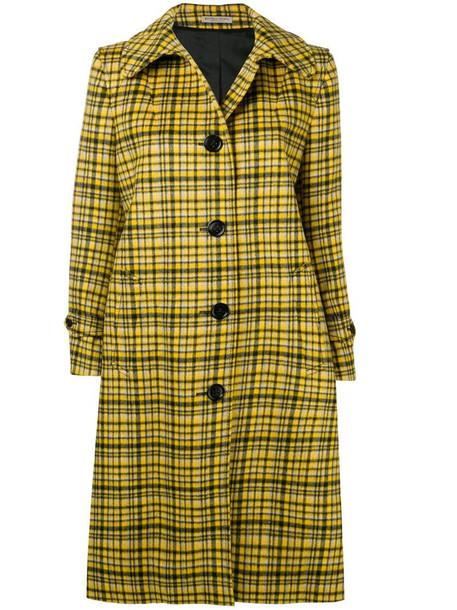 Bottega Veneta plaid coat in yellow