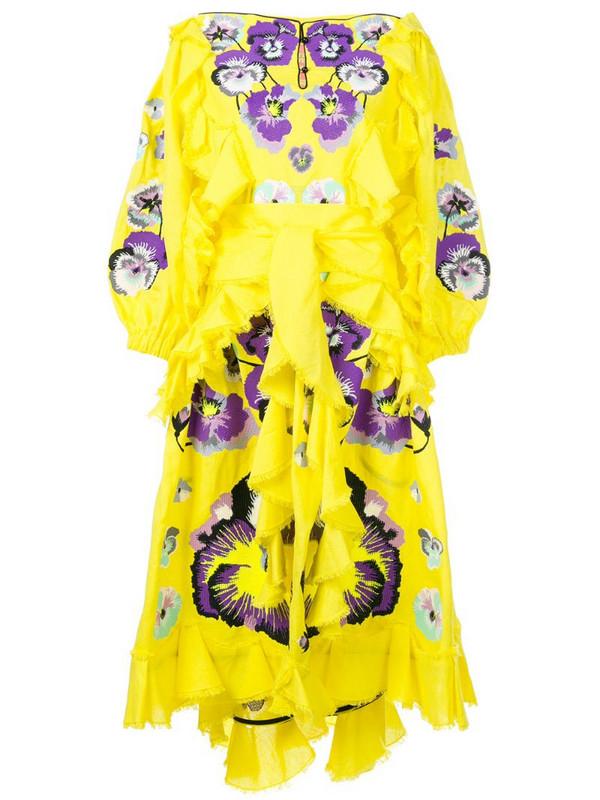 Yuliya Magdych Pansies ruffle trim dress in purple / yellow