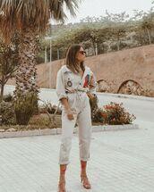 jumpsuit,sandal heels,long sleeves,casual