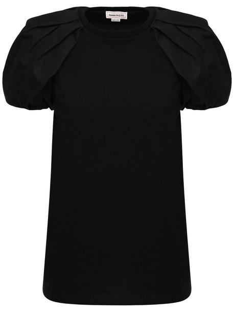 ALEXANDER MCQUEEN Cotton Jersey & Poplin T-shirt in black