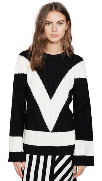 Victor Glemaud V Neck Long Sleeve Sweater in black / white