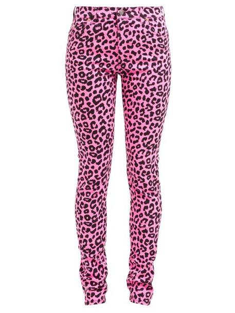 Gucci - Leopard Print Slim Leg Jeans - Womens - Pink Multi