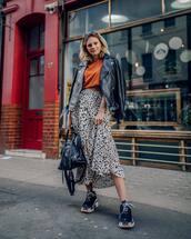 skirt,midi skirt,leopard print,high waisted skirt,black sneakers,balenciaga,black bag,black leather jacket,top