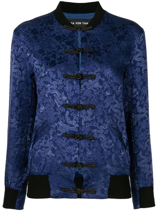 Lisa Von Tang floral-jacquard bomber in blue