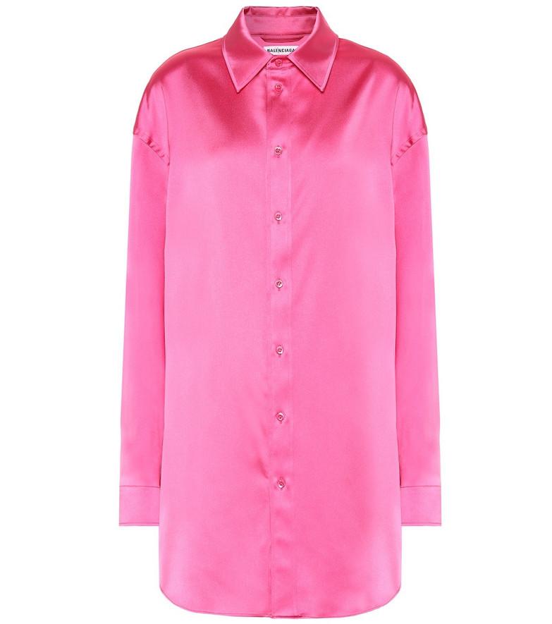 Balenciaga Longline satin shirt in pink