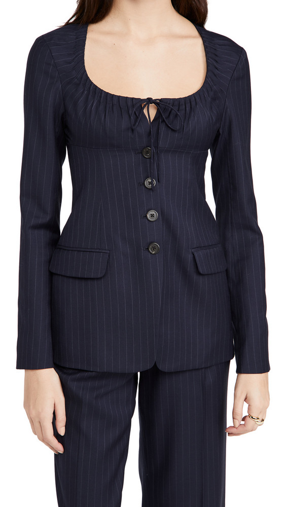 By any Other Name Scoop Neck Tailored Blazer in navy