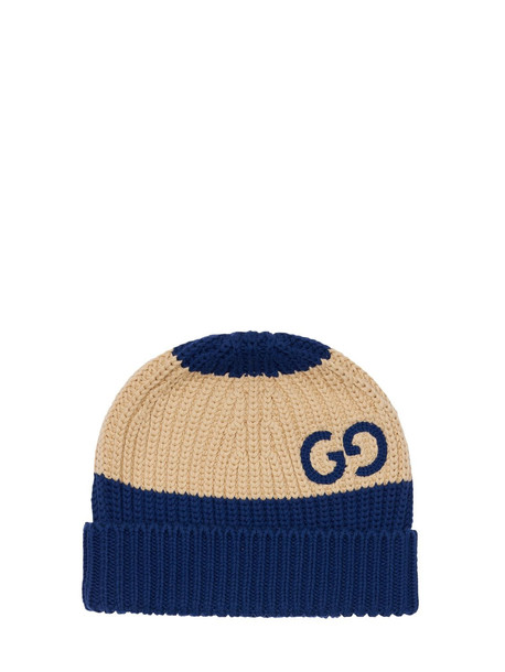 GUCCI Cotton Knit Hat W/ Gg Motif in blue / ivory