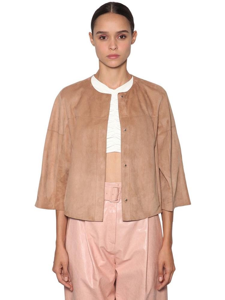 DROME Short Reversible Leather Jacket in purple / beige