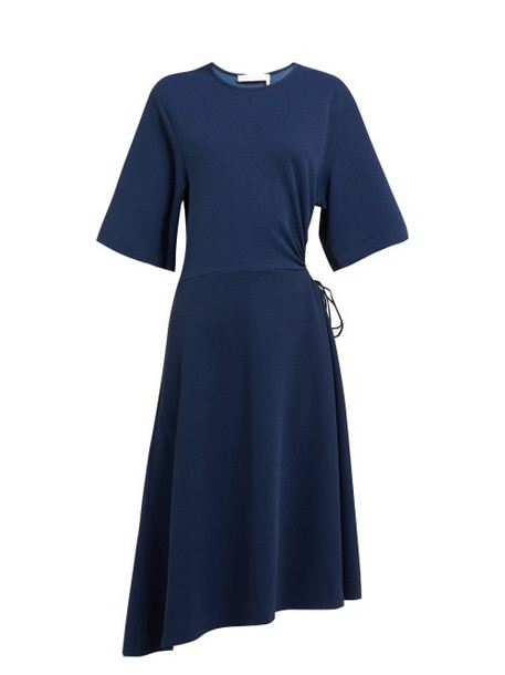 See By Chloé See By Chloé - Drawstring Cut Out Crepe Midi Dress - Womens - Navy