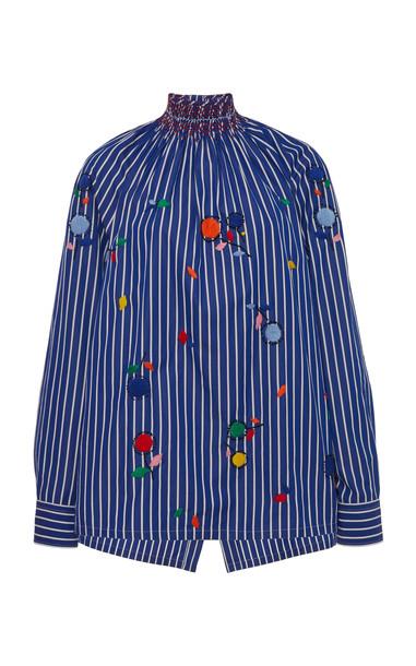 Prada Embroidered Cotton Smocked Top