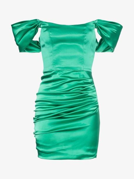 De La Vali Guadalupe off-shoulder ruched satin mini dress in green