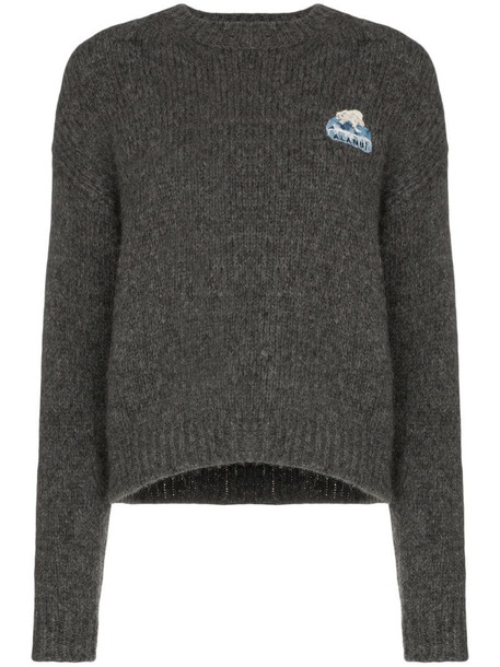 Alanui intarsia knit slogan jumper in grey