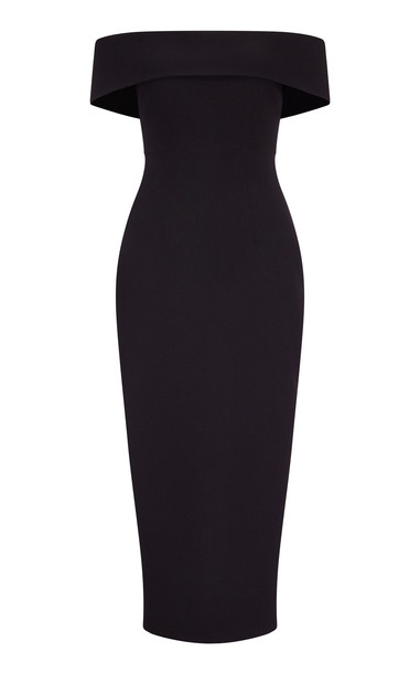 Safiyaa Orita Fitted Heavy Crepe Midi Dress in black