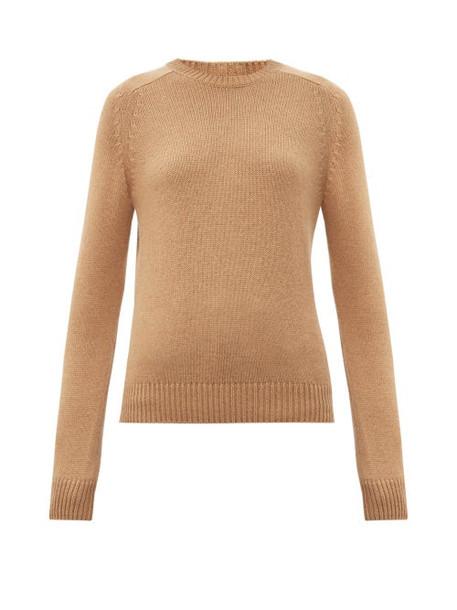 Saint Laurent - Round-neck Camel-hair Sweater - Womens - Camel