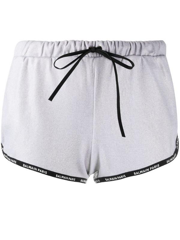 Balmain logo-trim drawstring shorts in silver
