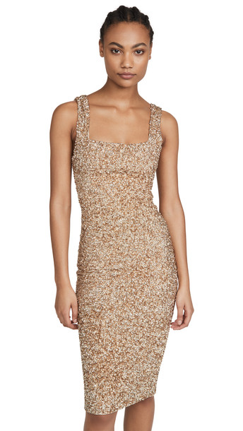 alice + olivia alice + olivia Helen Sequin Fitted Square Neck Dress in gold