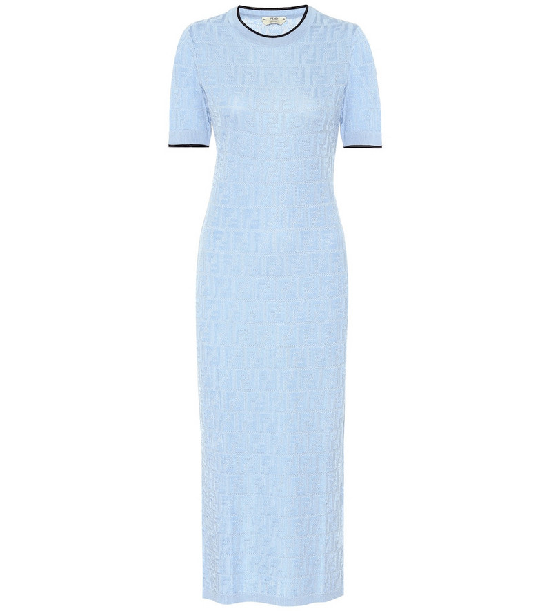 Fendi FF jacquard cotton-blend midi dress in blue