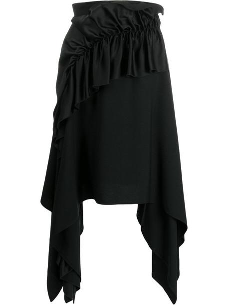 Christopher Kane crepe and satin frill skirt in black