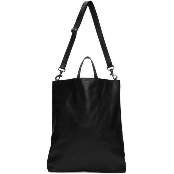 Ann Demeulemeester Black Leather Branded Tote