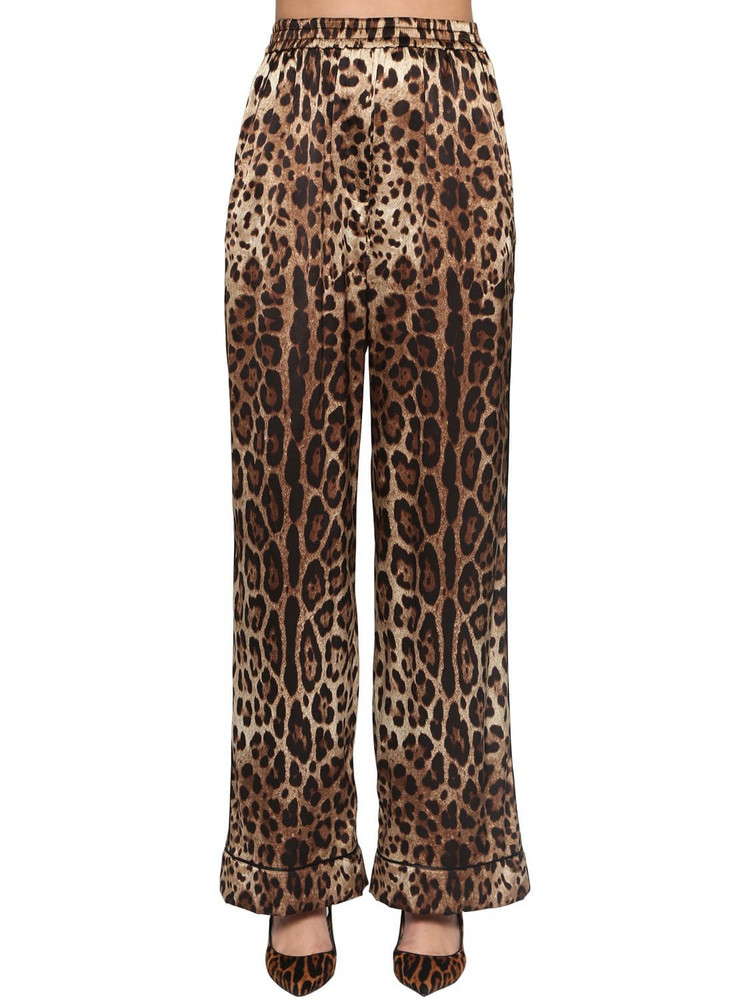 DOLCE & GABBANA Printed Satin Wide Leg Pants in leopard