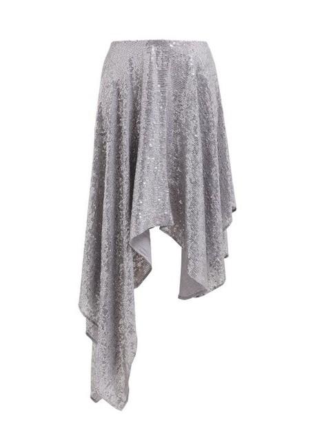 Ashish - Sequinned Asymmetric Skirt - Womens - Silver