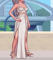 dress,skirt,two-piece,maxi skirt,skirt set,two piece skirt set,strip,kim kardashian game,kim kardashian hollywood,tan,tank top,crop tops,kim kardashian