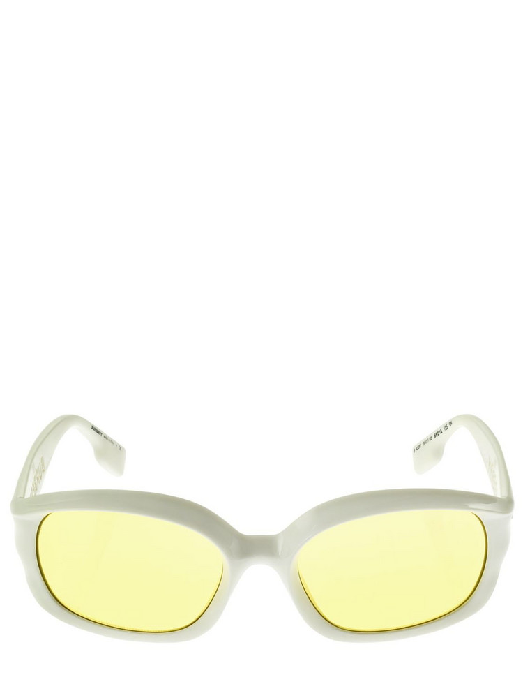 BURBERRY Rubber Logo Oval Acetate Sunglasses in white / yellow