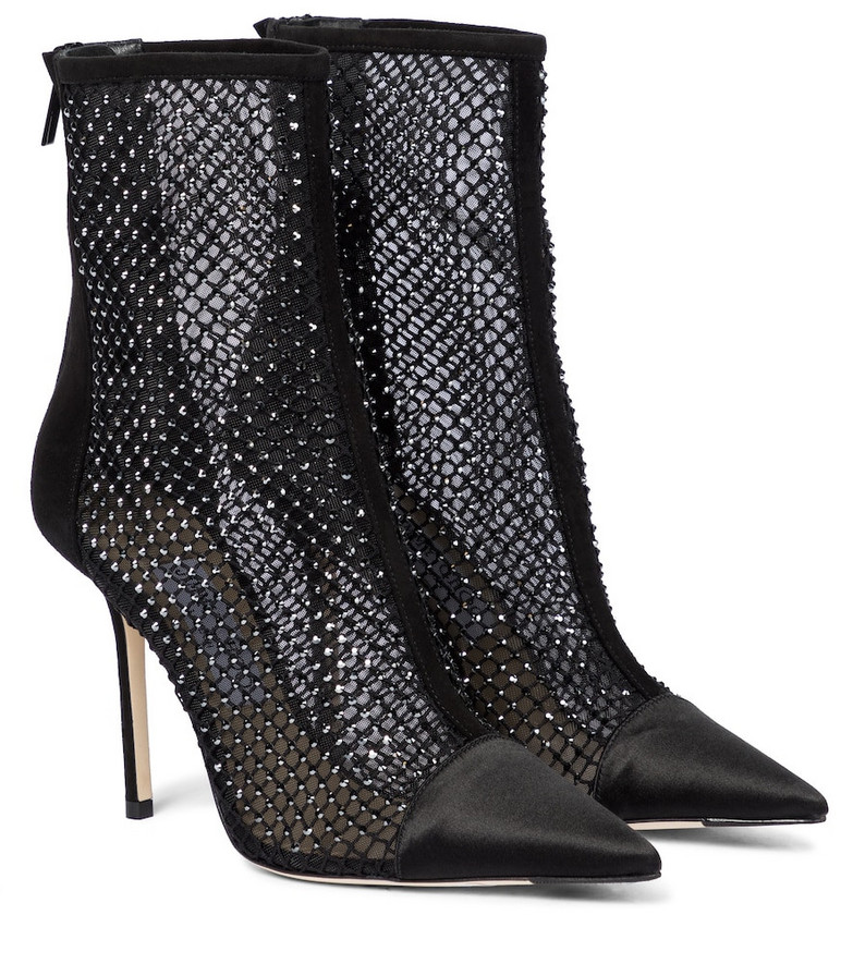 Jimmy Choo Marquis 100 embellished ankle boots in black