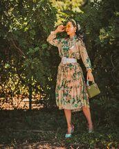dress,midi dress,floral dress,platform sandals,bag,belt