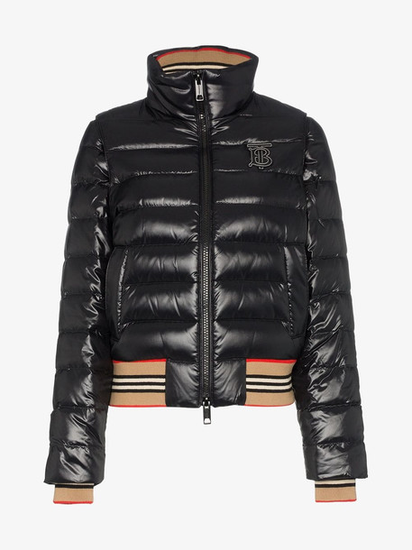 Burberry detachable sleeve puffer jacket in black