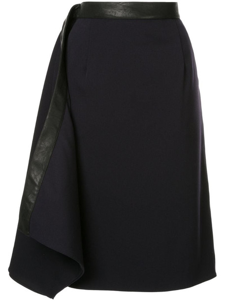 Y/Project leather trim skirt in blue